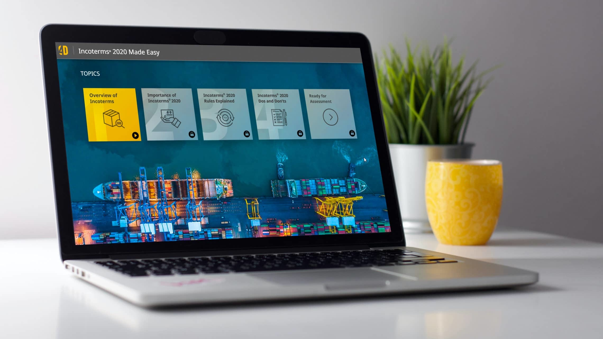 eLearning software running on a laptop