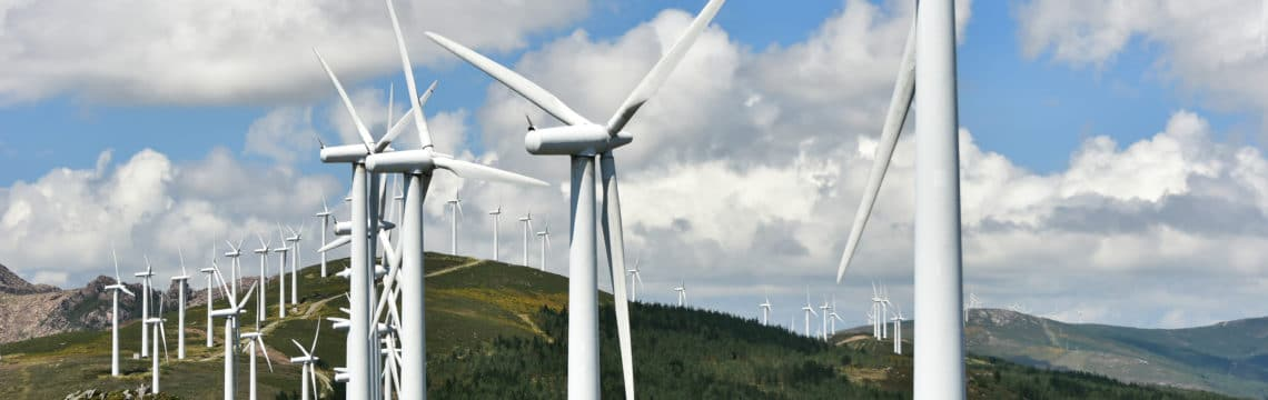 wind park in a mountain region